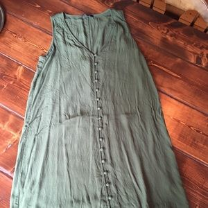 Madewell army green button down dress